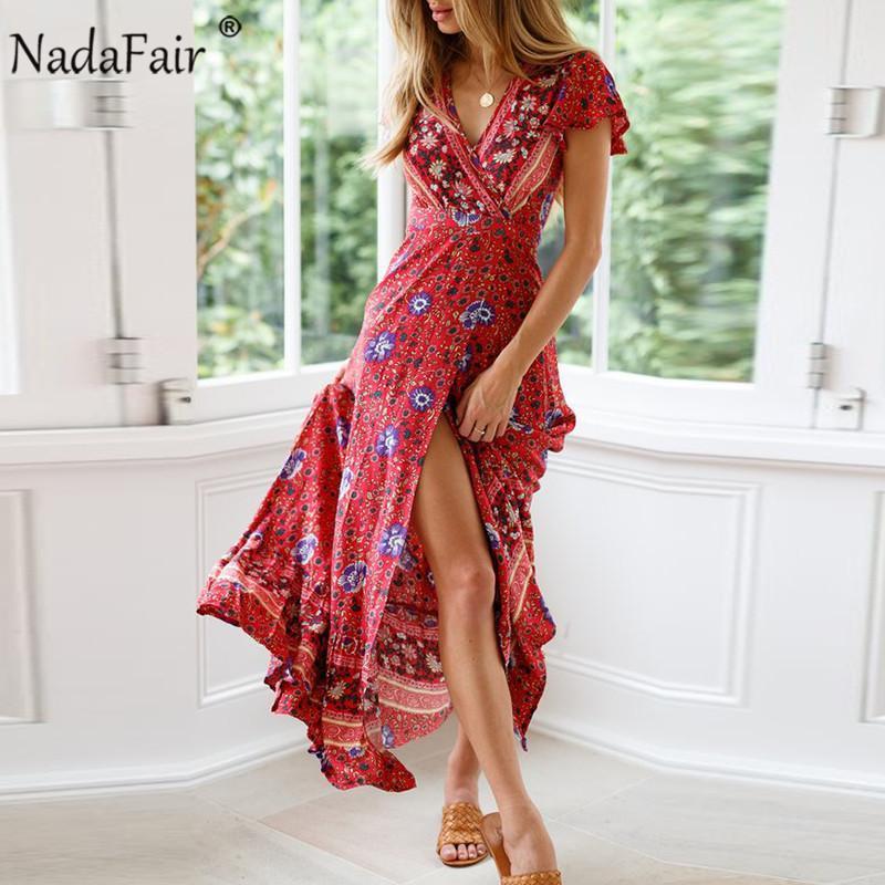 빈티지 꽃 맥시 드레스 여성 비치 띠 레이스 업 우아한 섹시한 V 넥 분할 튜닉 긴 여름 드레스 Vestidos 인쇄하기