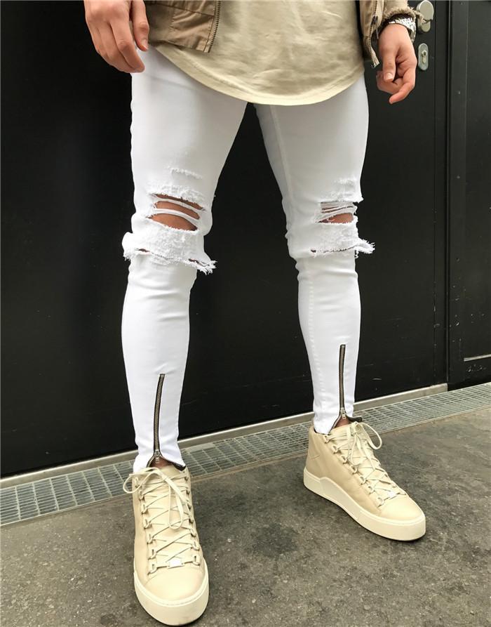 Yırtık Kot Moda Yaz Fermuar Günlük Kalem Pantolon Skinny Orta Bel Jeans Erkek Giyim Erkek Beyaz