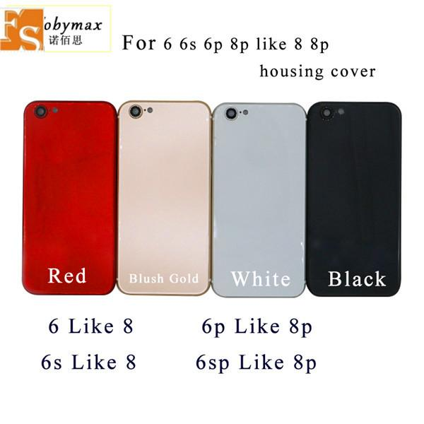 For iPhone 6 6P 6g 6 Plus Back Housing Cover Like iPhone 8 8 Plus Style Metal Glass Back Cover Replacement with Buttons