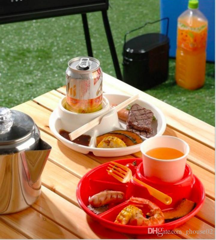 Porte-gobelets à boissons à la bière à 3 compartiments, total 4 sections pour barbecue
