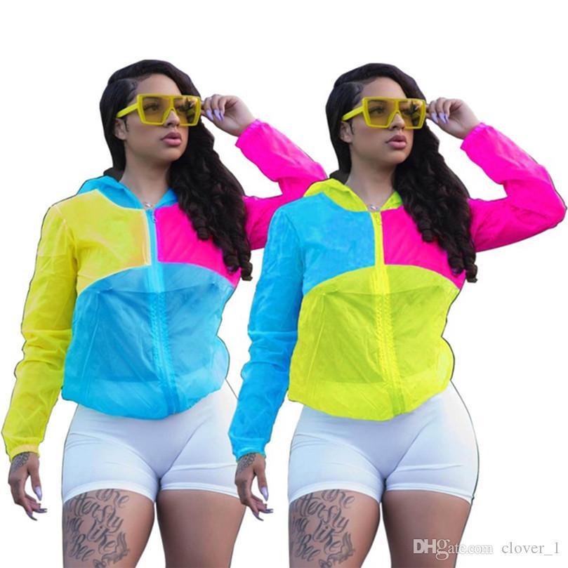 Uzun Giyim sunproof Kapüşonlular Ceket Marka Mektupları Patchwork kollu Kadınlar Güneş Coats Güneş Koruyucu 3410 Kapşonlu İnce Coat Bayanlar Görevlisi Zip