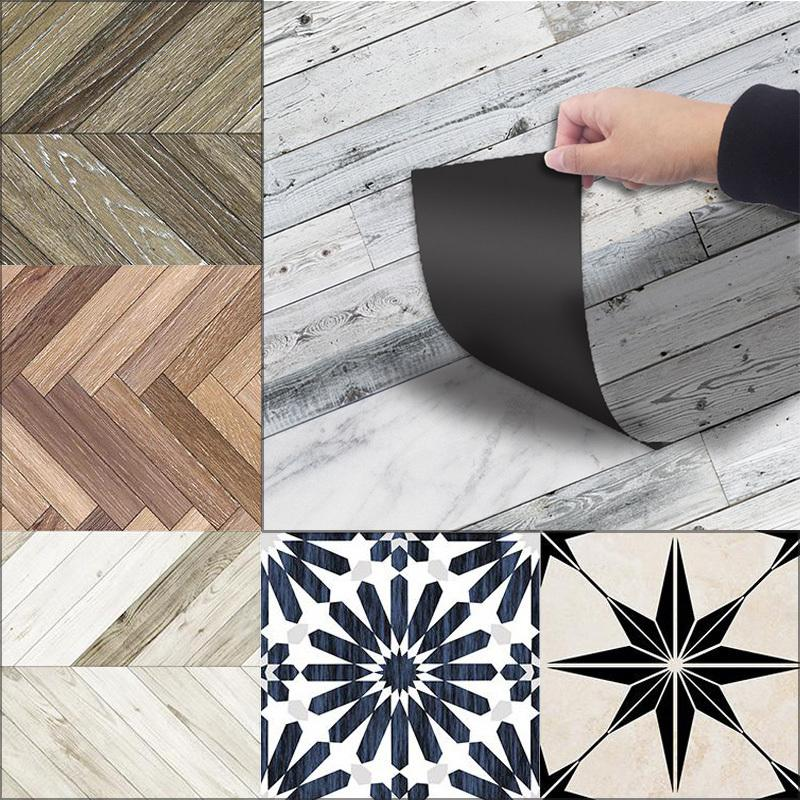 3D Floor Stickers Waterproof Tiles In Wall Stickers Wood Self Adhesive PVC Wallpaper For Bathroom Living Room Home Decor 20*300 T200111