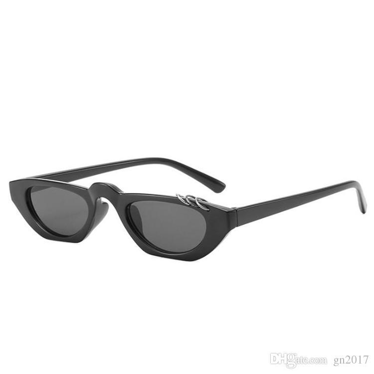 Moda Mujeres Hombres Personalidad Gafas de sol Hip Hop Pequeño Marco Gafas de sol Anti-UV Gafas Gafas A ++