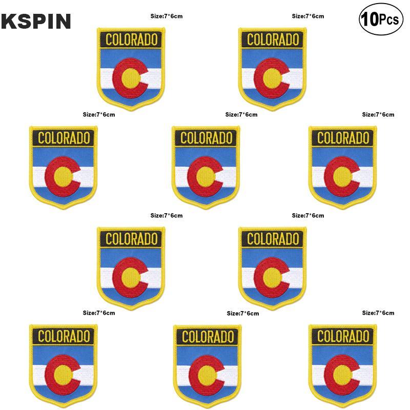 U.S.A. la bandera de Colorado bordado parches de hierro en Sierra de transferencia de parches de aplicaciones de costura de ropa en huerto casero 10pcs mucho