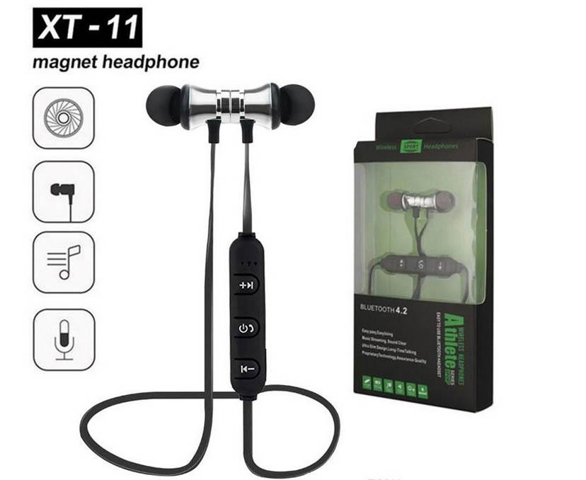 Bluetooth Earphone Magnetic XT-11 Wireless Sports Headset Bass Music Earpieces Mic Headset For iphone Xiaomi Huawei Andorid 50pcs ZY-EJ-11