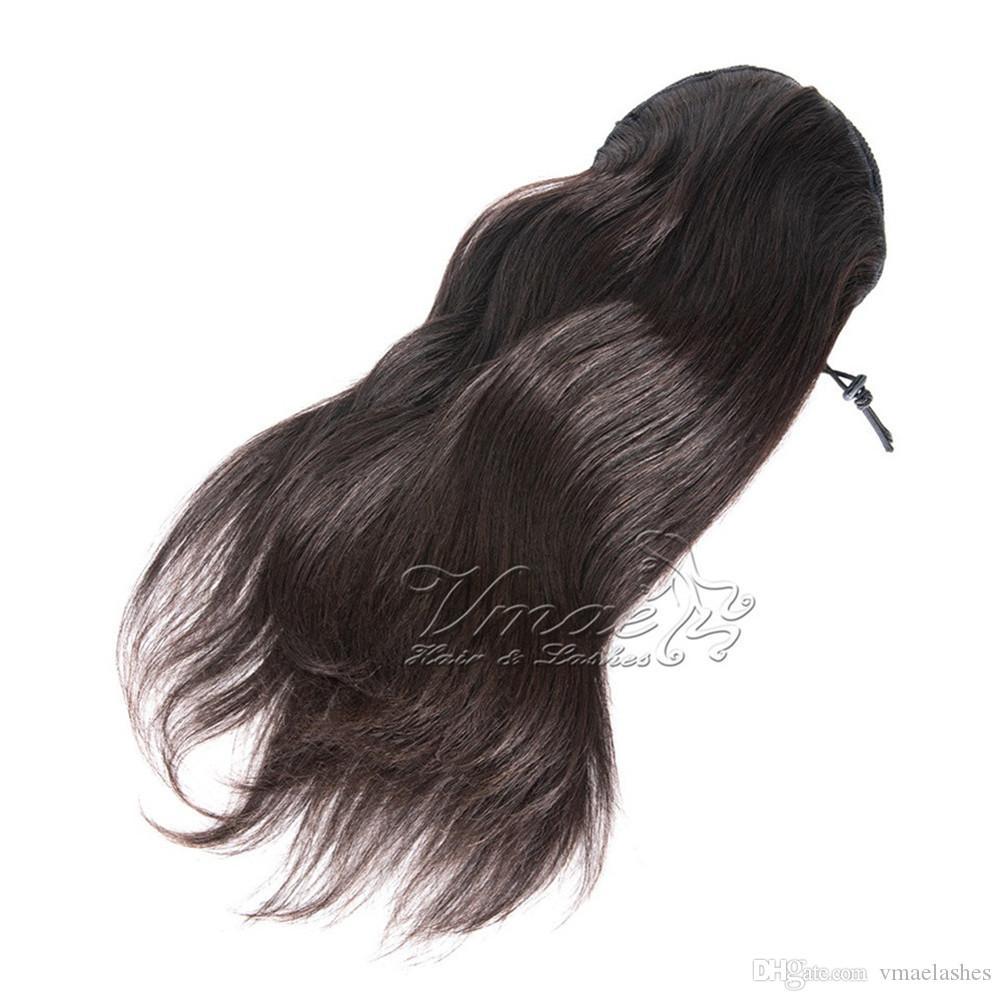 졸라 매는 끈 포니 테일 인간 처녀 머리 확장에 VMAE 스트레이트 자연 (613) 브라운 120g 14-28 인치 말꼬리 꽉 구멍 클립