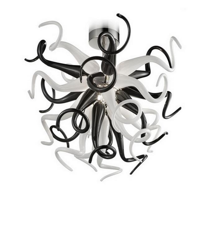 Ornement de Noël en verre soufflé Lustre noir et blanc Mini salle à manger Finement verre Artisanat Petit cristal