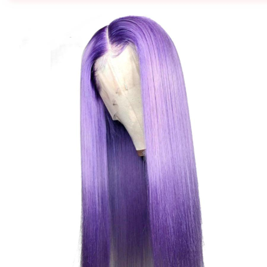 Brazilian Purple Glueless Full Lace Wigs Human Hair Silky Straight Purple Human Hair Lace Front Wigs Transparent with Bangs