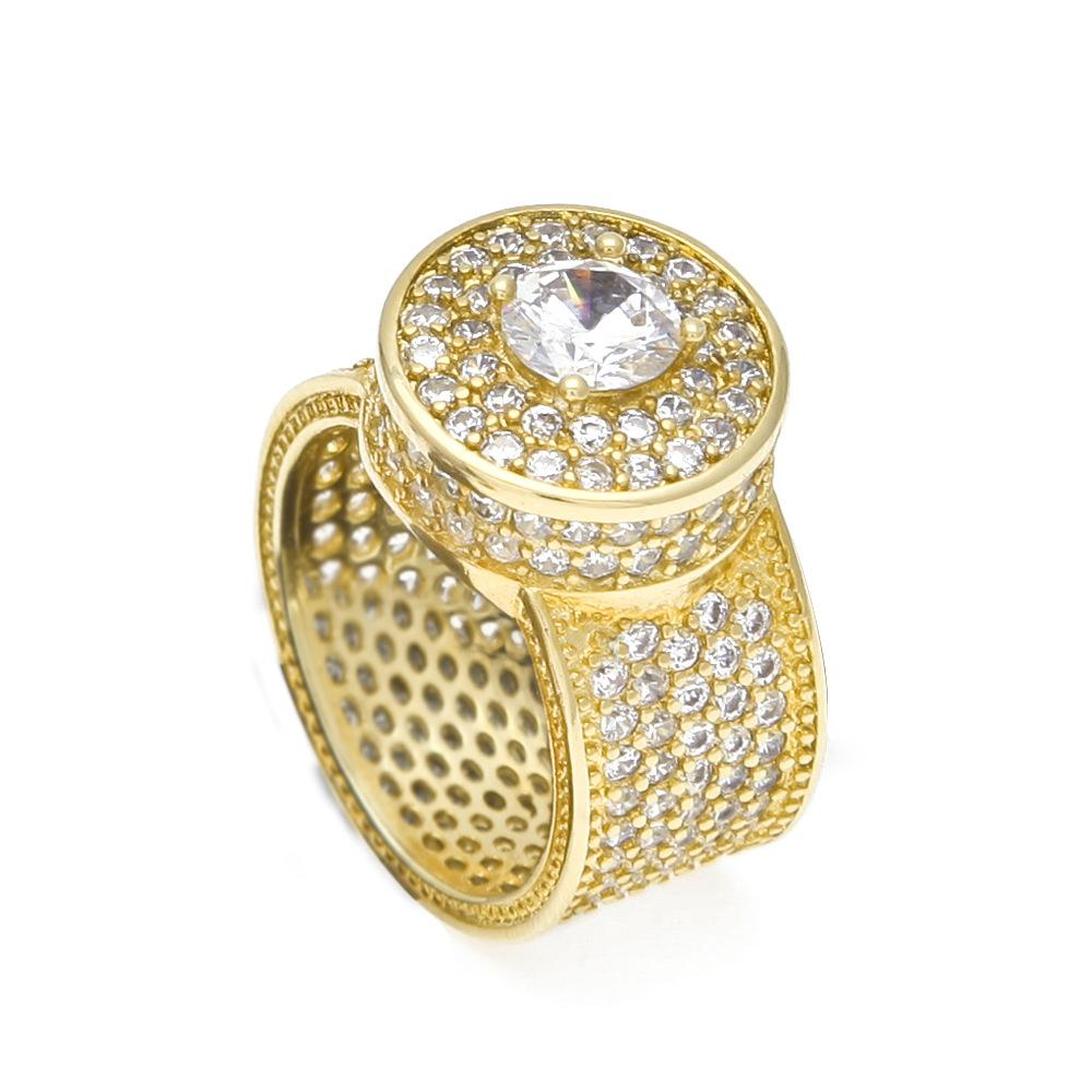 Hop clássico europeu Hip e congelado para fora anéis de ouro banhado banhado a ouro Moda Zircon grande anel de homens americanos