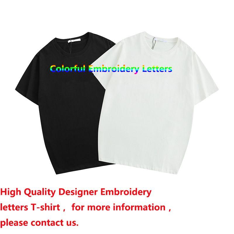 رجل إمرأة مصمم القمصان قصيرة الأكمام القطن مزيج صيفية أزياء العلامة التجارية تي شيرت مع العلامة التجارية رسالة التطريز 2 الألوان بالجملة