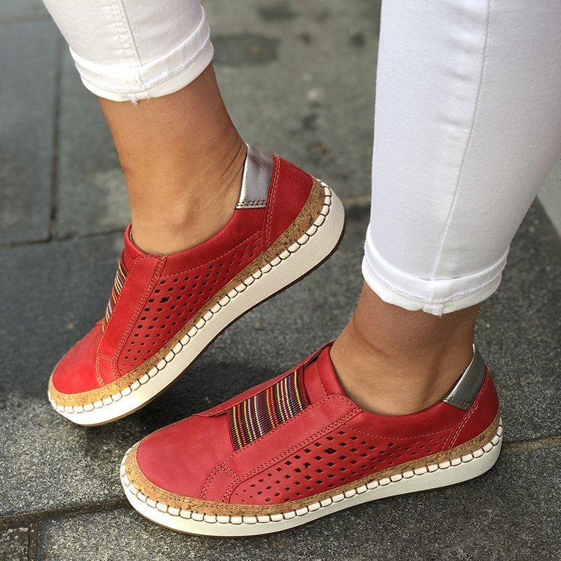 PUIMENTIUA Spring Women Flats Shoes Sneakers Shallow Loafers Vulcanized Shoes Breathable Hollow Out Female Casual Ladies