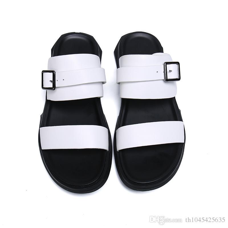 bianco nero uomo moda fibbie design sandali gladiatore scarpe estive scarpe da uomo casual casuali scarpe con cinturini incrociati in pelle sandali