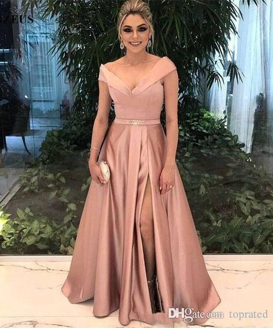 2020 Arabisch eine Linie Abend-Kleider mit V-Ausschnitt-Kappen-Hülsen-Schärpe mit Rüschen besetzten drapierte Seiten-Schlitz Lange Sweep Zug Dubai Abschlussball-Partei-Kleider Gewohnheit