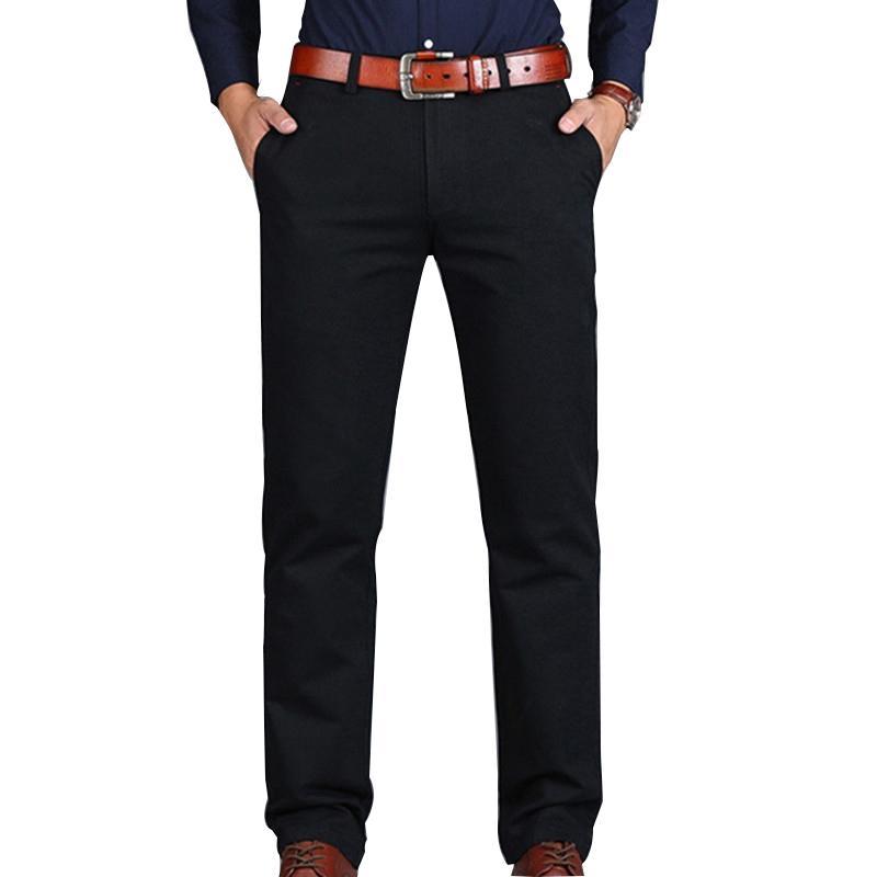 Mens Pants Loose Cotton Full Length Men Pants Casual Pockets Army Khaki Black Male Trousers Men social Big Size Summer