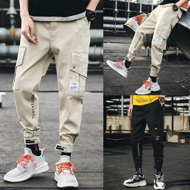 Yfashion Man Overall Sports Pants with Pockets Male Leisure Sweatpants Cargo Pants