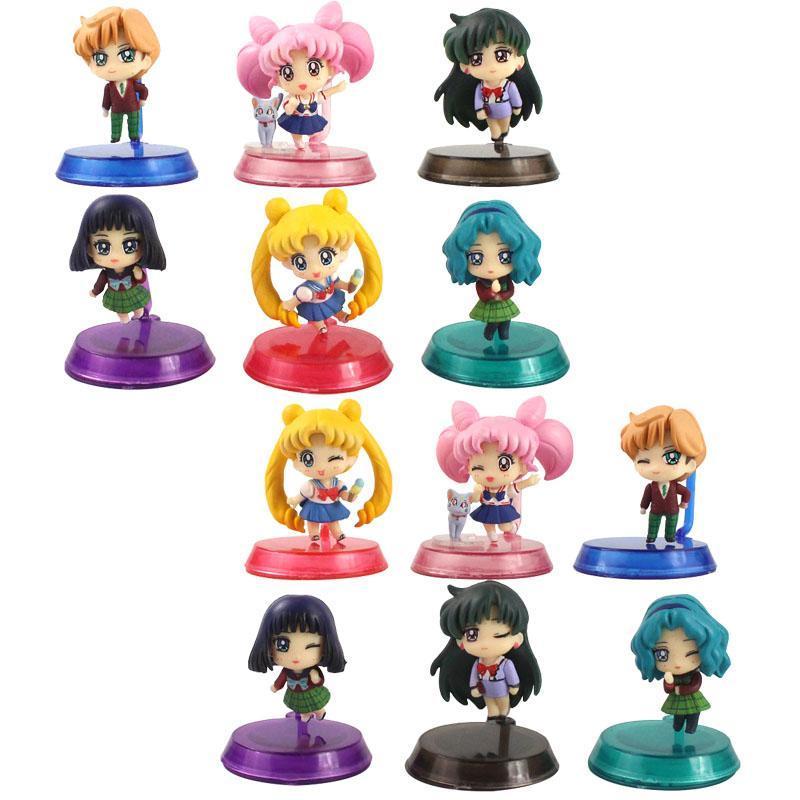 6pcs / Set Sailor Moon Tsukino Q Versione Giove Venere Marte Mercurio in PVC Action Figure Collection Model Toy Doll Ragazze Gifts