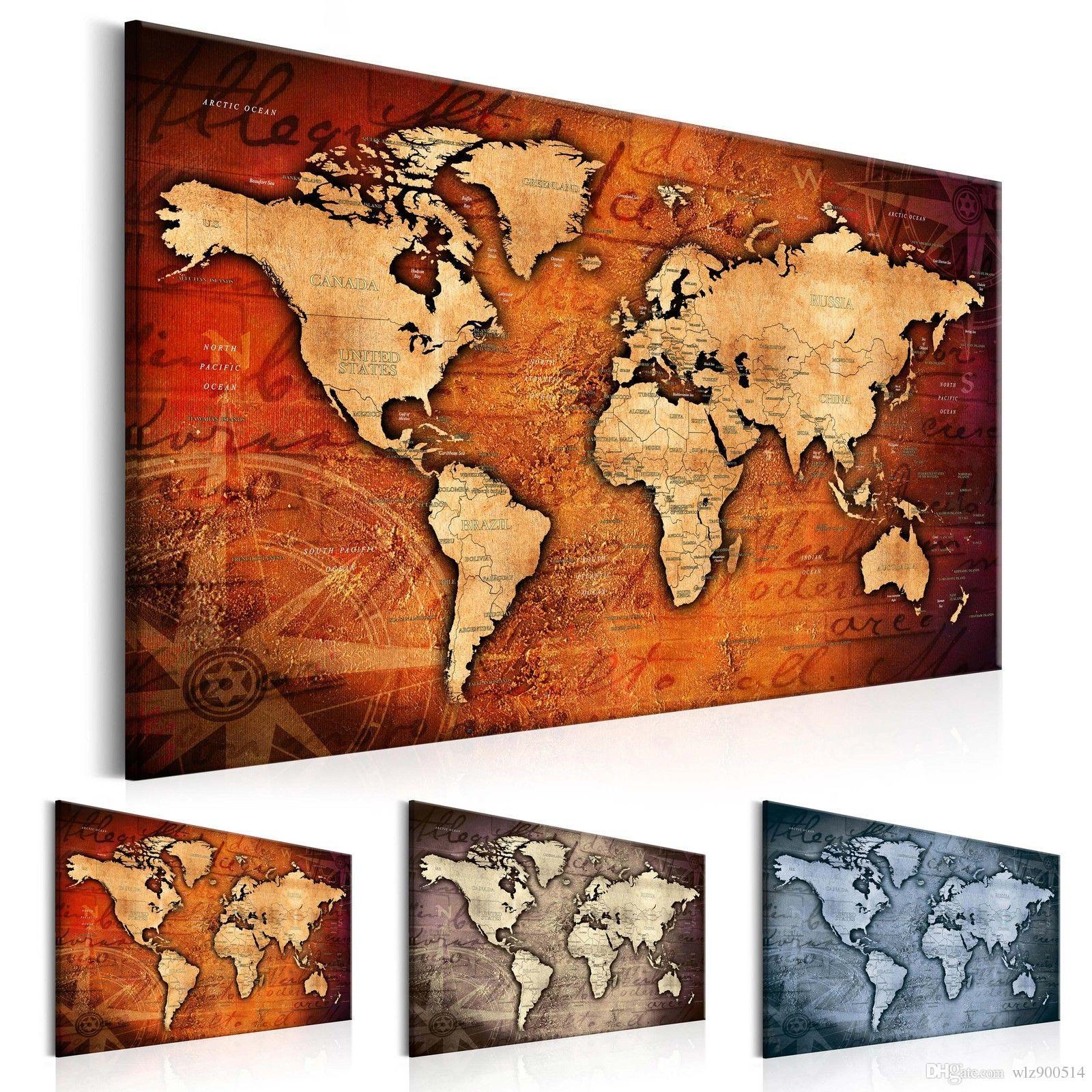 1 لوحة كبيرة hd مطبوعة قماش طباعة اللوحة الرجعية خريطة العالم تزيين المنزل جدار غرفة المعيشة جدار الفن على قماش (متعدد الألوان) ن