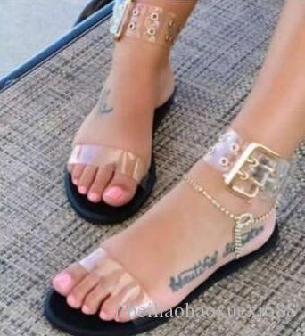Nuove donne sandali trasparenti piatto estivo gladiatore open toe chiaro gelatina scarpe da donna romano sandali da spiaggia di grandi dimensioni 35-43. Spedizione gratuita