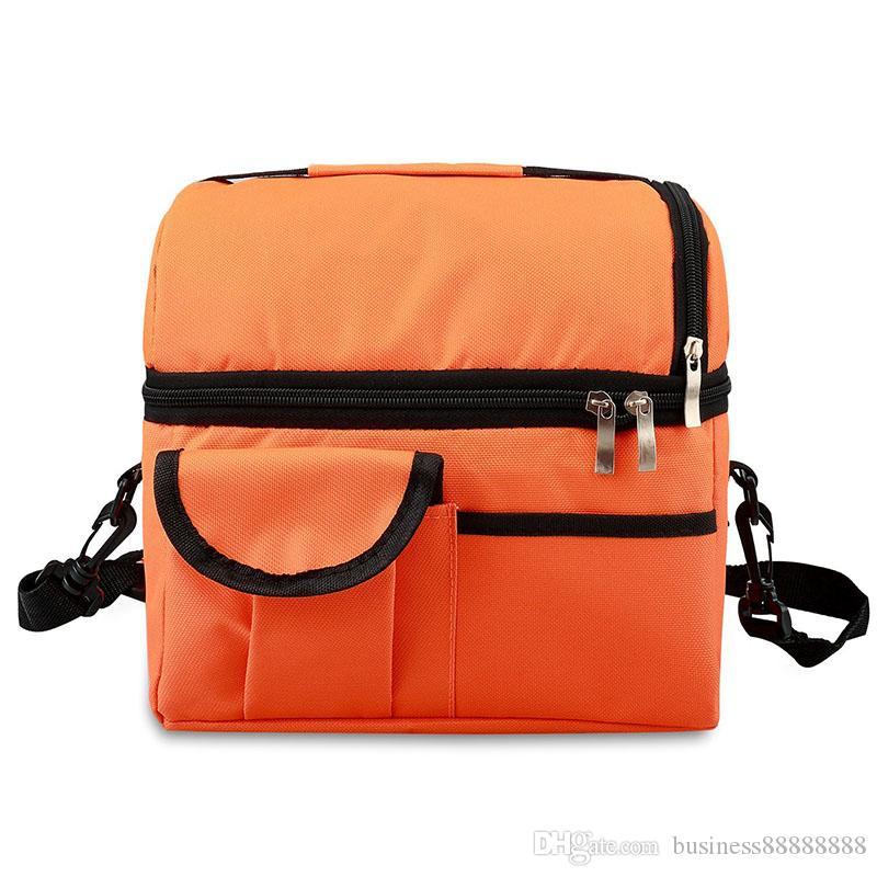 2019 حقيبة التخييم الكبار الغداء مربع معزول حقيبة الغداء كبيرة برودة حقيبة حمل للرجال والنساء ، مزدوجة الطابق برودة (أسود)