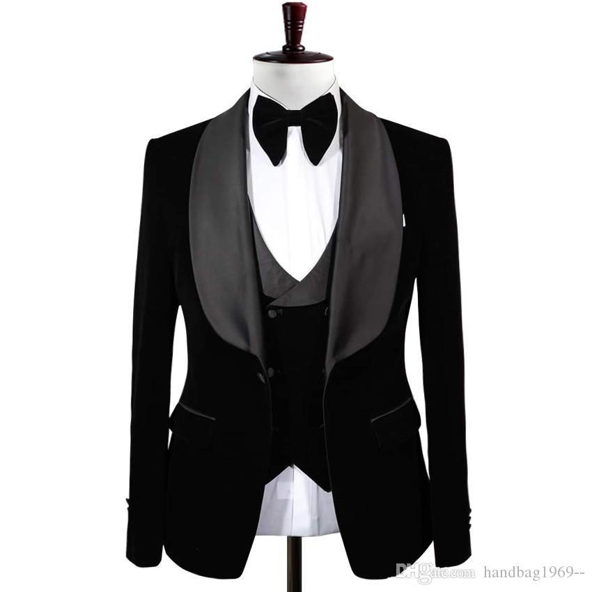الصورة الحقيقية الأسود المخملية العريس البدلات الرسمية رجل prom حزب الأعمال الدعاوى معطف صدرية بنطلون مجموعة (سترة + بنطلون + سترة + ربطة الانحناءة) k204