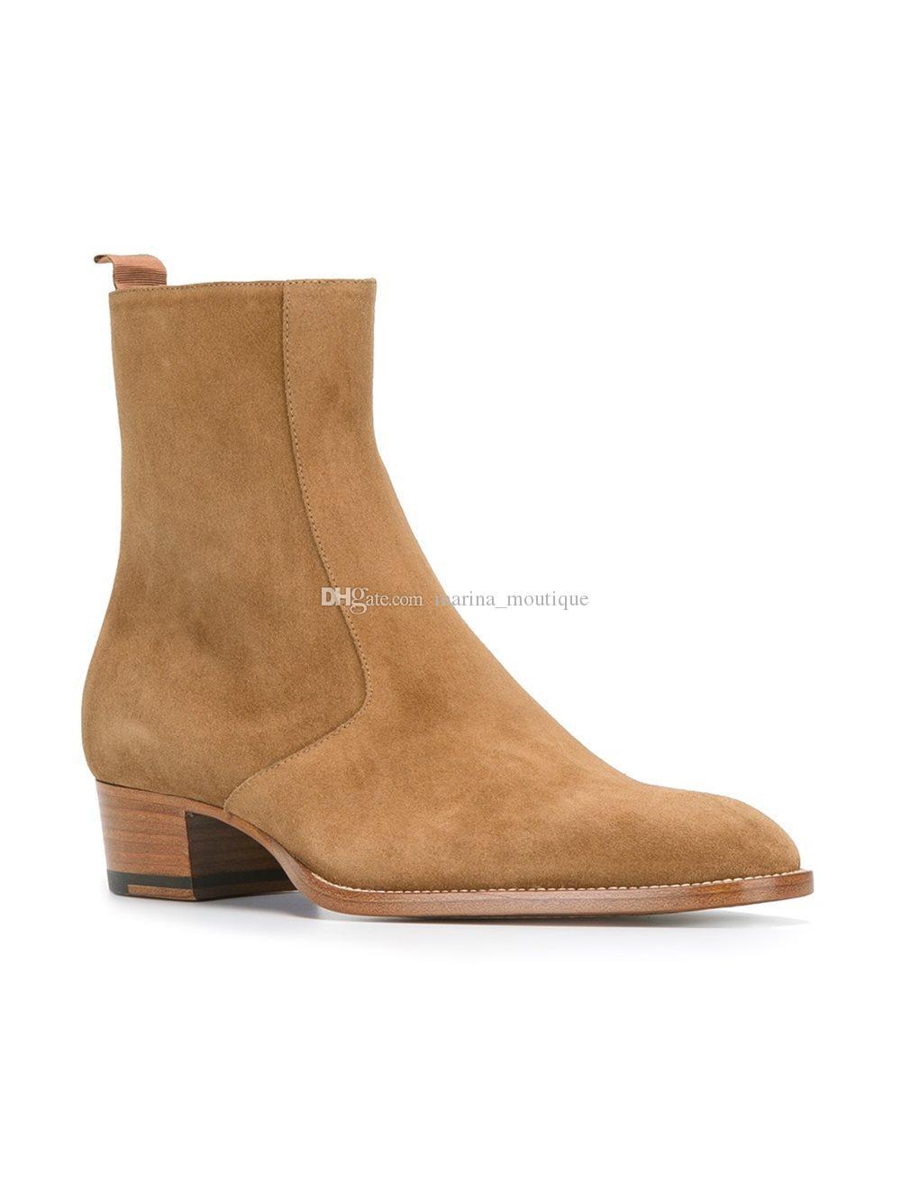 بقرة الجلد المدبوغ جلدية زيبر داخل أحذية الرجال الغربية Chelse الجوارب الشتوية