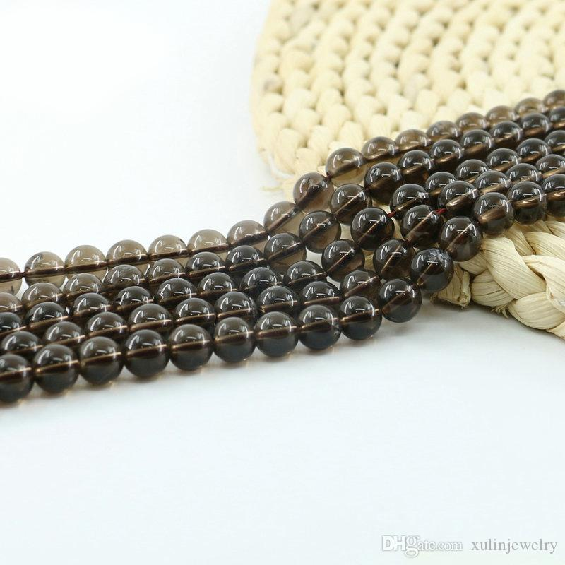 سموكي كوارتز الخرزة 15 بوصة حبلا لكل مجموعة فضفاض جولة الأحجار الكريمة بالجملة لصنع المجوهرات ديي