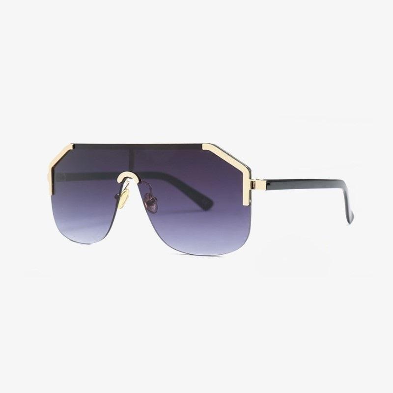 جديد المتضخم قطعة واحدة مربع النظارات بدون شفة النساء الرجال الطيار للجنسين ماركة شقة الأعلى التدرج نظارات الشمس للإناث