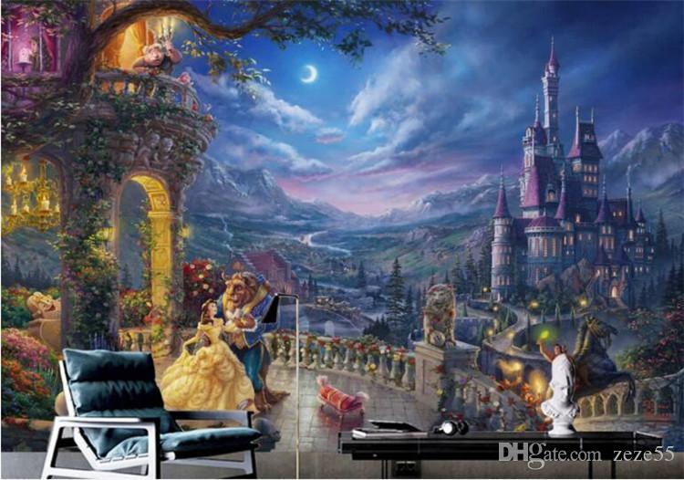 Individuelle Wandgemälde Mode europäische Retro Fantasie Cartoon Schloss Tapete Prinzessin Hintergrund Tapeten Wohnkultur