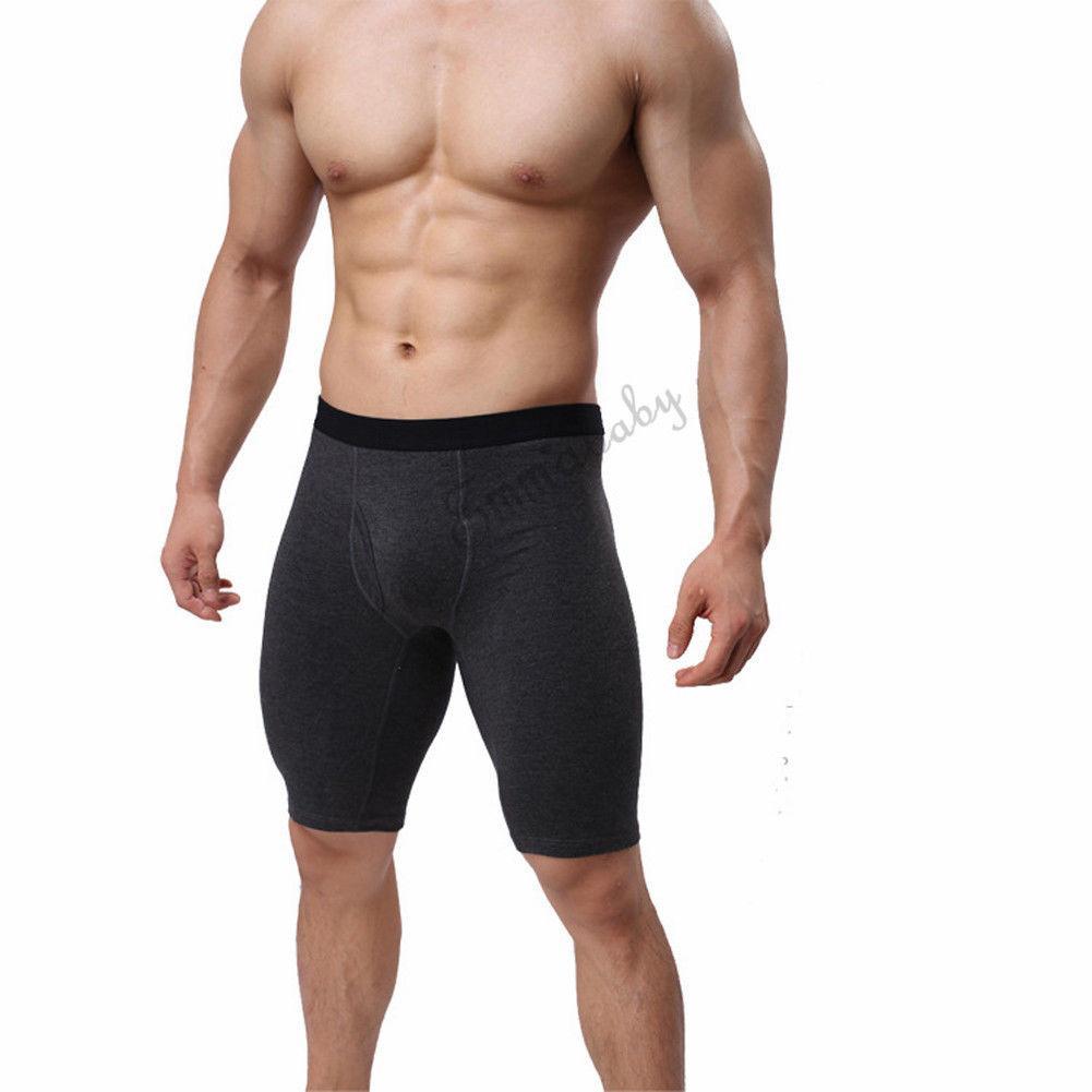 Hot ! New Hot Fashion Men Underwear Cotton Boxers Shorts Mid-Waist Convex Pouch Long Leg Pants