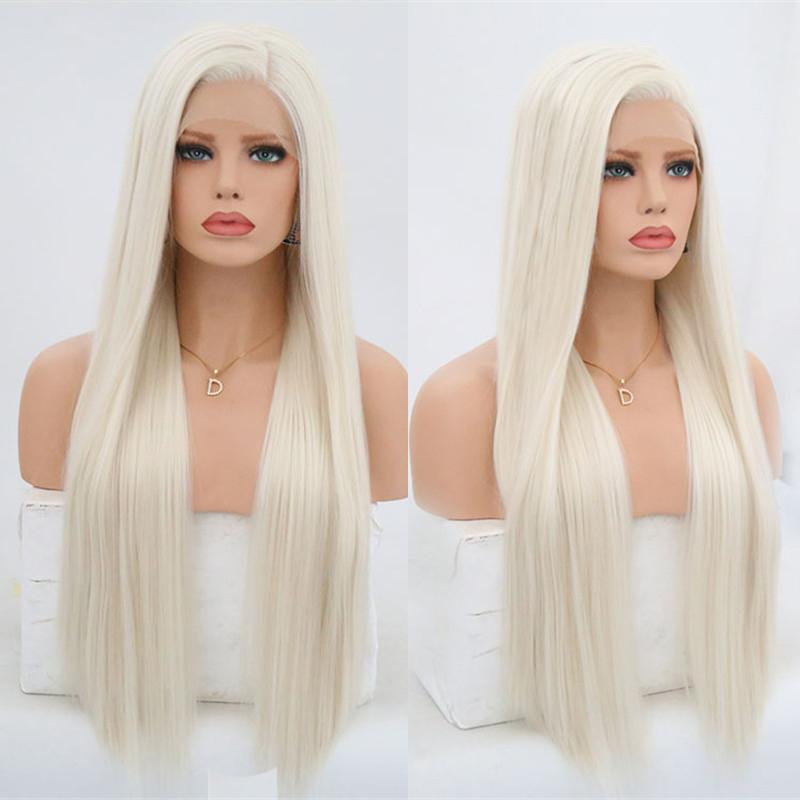 البلاتين أشقر الاصطناعية الرباط الجبهة الباروكات للنساء حريري مستقيم جانبية الجزء مقاومة للحرارة طويل الشعر شعر مستعار Blonded