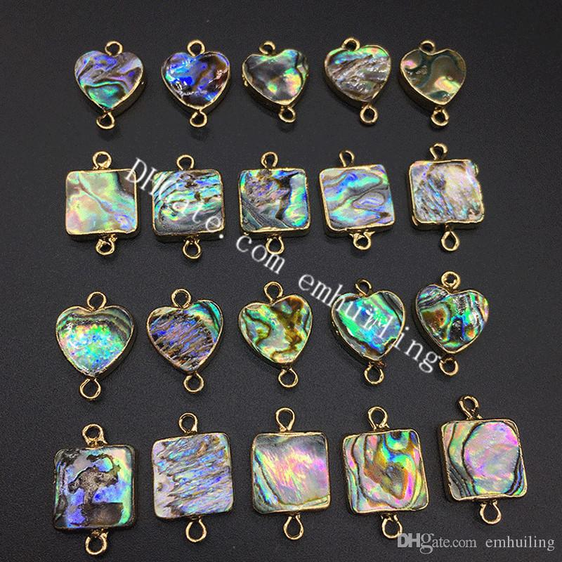 100Pcs Paua Shell Square Heart Bezel Connector Gold Plated Rainbow Abalone Shell Beads Charm Pendants for Connecting Jewelry Pieces Together