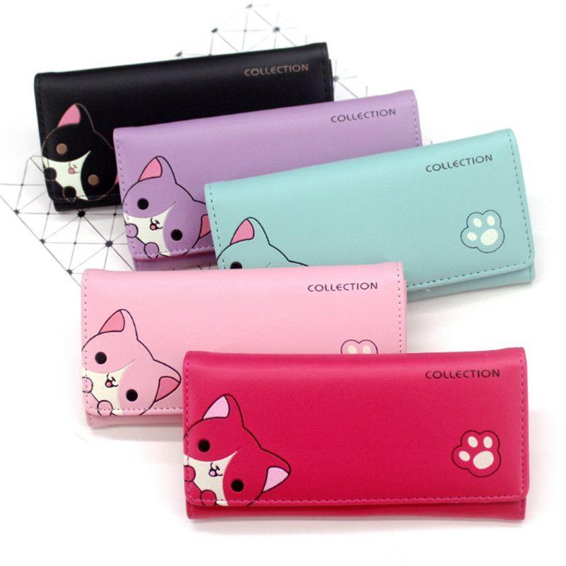 Womens Cute Dog PU Leather Long Purse Wallet Card Holder Clutch Handbag Case