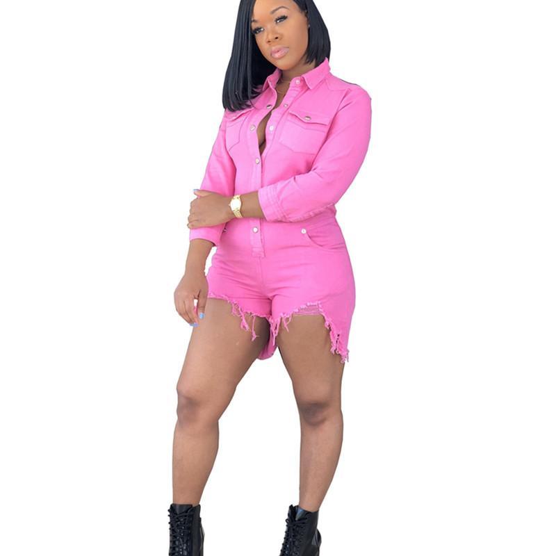 Женщины Сексуальные Короткие Джинсы Комбинезоны Для Женщин Розовый Мода Винтаж Тонкий Джинсовые Комбинезоны С Длинными Рукавами Комбинезоны Шорты XXL
