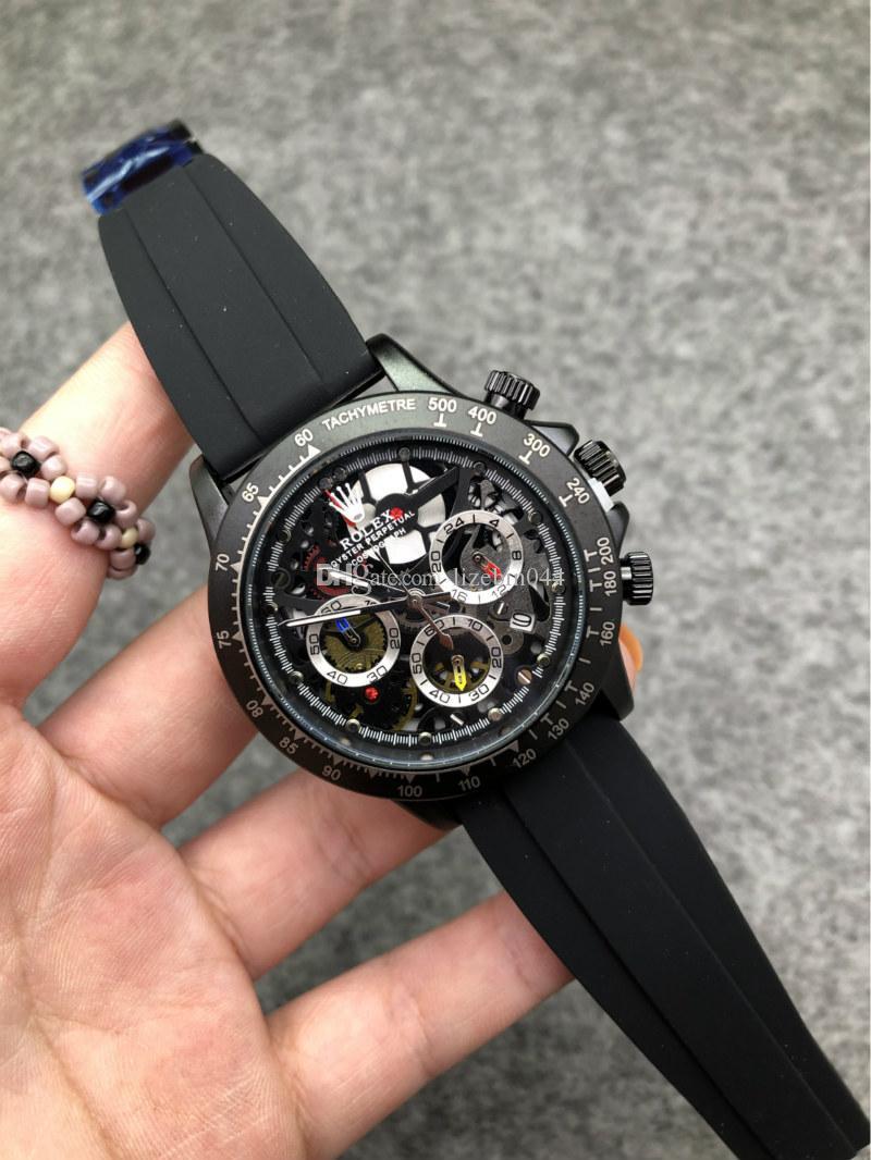 2020 40 millimetri Reloj hombres Mens di lusso Orologi Cinturino in caucciù quarzo della vigilanza di sport braccialetto delle donne Mens polso orologio militare Chronograph