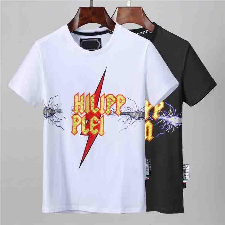New American Moda T-shirt Uomo sportivo Fitness girocollo stampa in bianco e nero maglietta calda z0