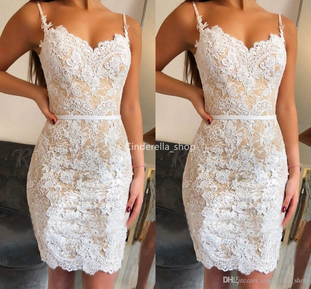fb5231ad715 Sexy Spaghetti Mermaid Short Prom Dresses 2019 Lace Appliques Fitted Party  Gowns Plus Size Sleeveless Formal