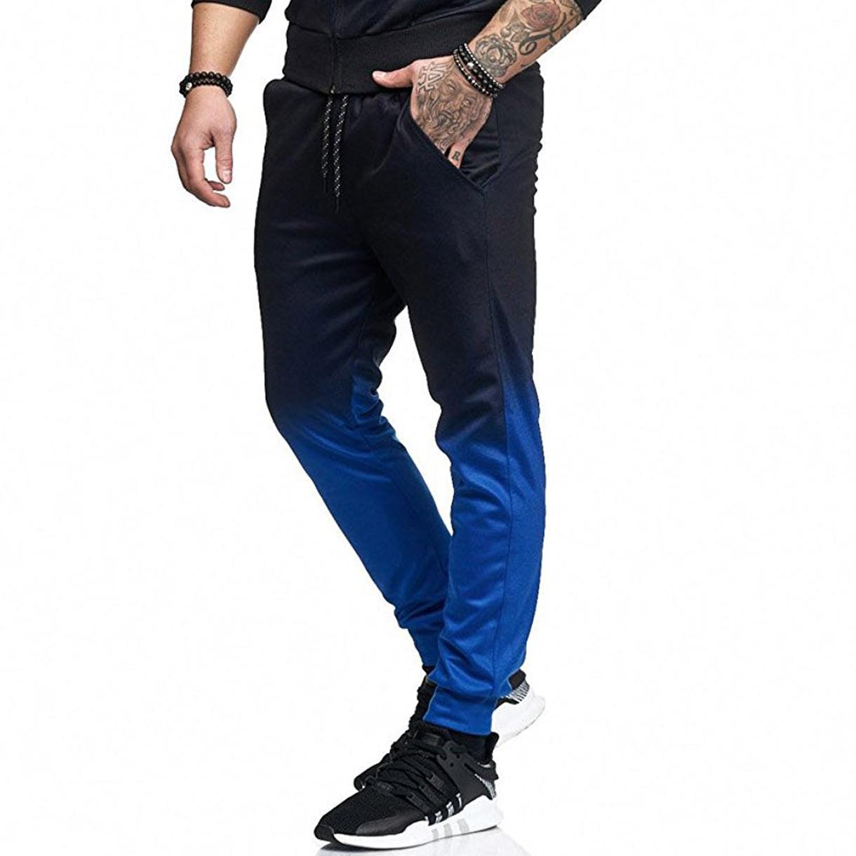 Rahat Donatılmış Eşofman Altları erkek spor pantolon moda stil degrade 3D baskı spor pantolon erkek sonbahar pantolon