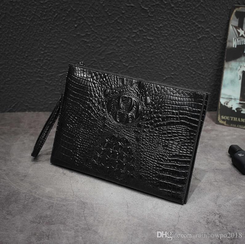 Factory wholesale men handbag street trend crocodile pattern men hand clutch multi-functional leather file bag no fashion leather wrist bag