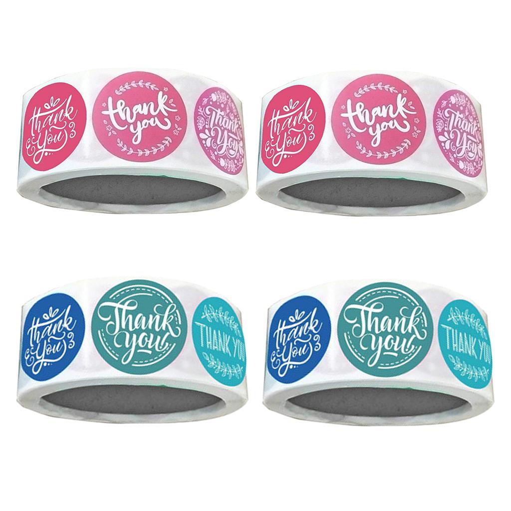 4 Rolls Sen Sızdırmazlık Çıkartma Yuvarlak Kağıt Kırmızı / mavi yaftalar Packaging Teşekkür