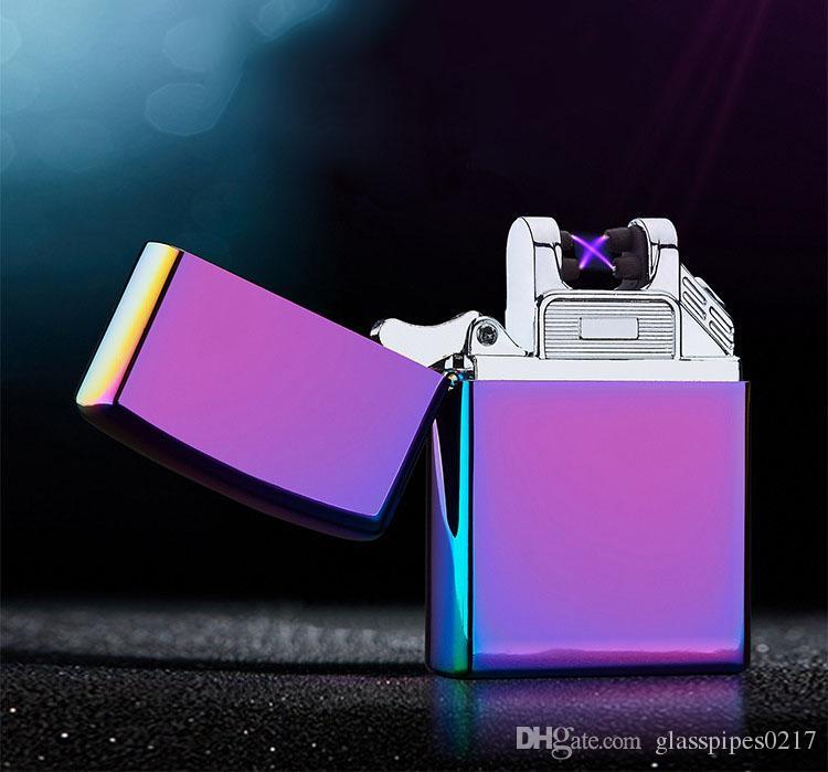 Duplo ARC Elétrica USB Recarregável Isqueiro À Prova de Vento de Pulso Sem Chama de Cigarro isqueiro carga colorida usb isqueiros
