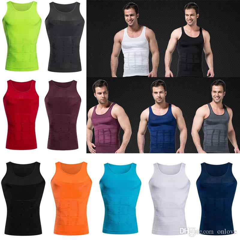 Mens Compression Top Underwear Body Shaper Weights Tank Vest Slimming Shapewear