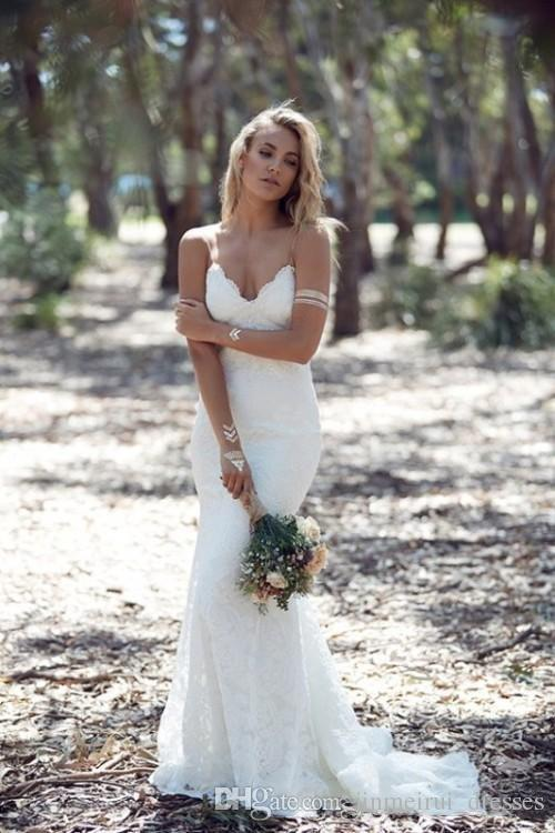 Backless Wedding Dresses Mermaid Spaghetti Strap Sexy Full Lace Wedding Dress Cheap Sweep Low Back BOHO White Bridal Dress