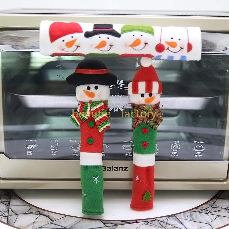 3PCS Christmas Refrigerator Door Handle Covers Set Cute Snowman Refrigerator Gloves Kitchen Appliance Protector Decor Xmas Party Decorations