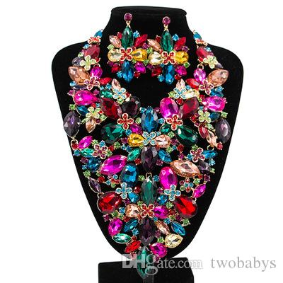 Granos africanos sistemas de la joyería para las mujeres accesorios boda nupcial de cristal colgante declaración collar pendiente de la gema joyería conjunto