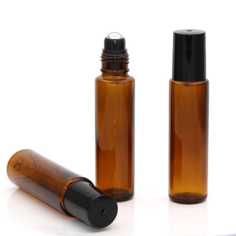 Beste Qualität 15ml Braunglasflasche Roll On Leer Duft Parfüm Ätherische Öle Flasche 15ml Roll-On aus schwarzem Kunststoff Cap Flasche LX8840