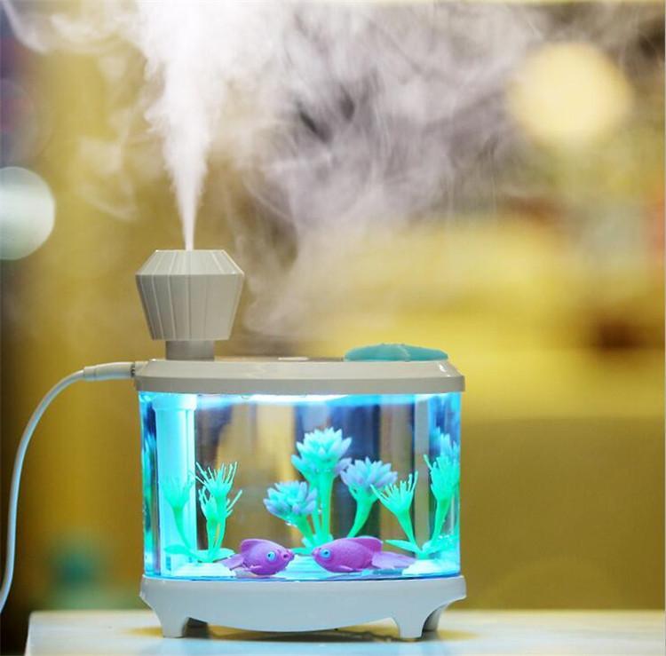New Fish Tank 460 мл Увлажнитель с разноцветными светодиодными лампами для ароматерапевтического диффузора Ультразвуковой диффузор эфирного масла с большой емкостью