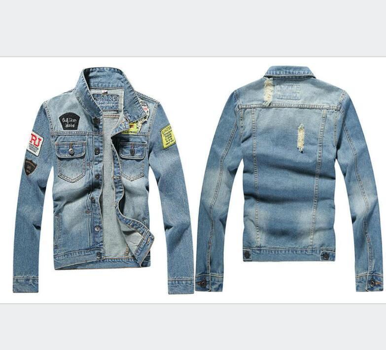 New Fashion Designer Denim Jacket Men Holes Ripped hommes manteau de hip hop Vêtements bleu Jean Vestes New Marque délevé surcoat Mens Denim