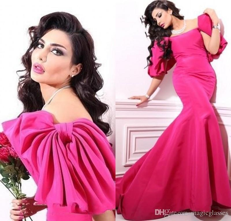 중동 Vestidos 이브닝 드레스 스코프 캡 슬리브 자홍색 활 머메이드 댄스 파티 드레스 우아한 빈티지 파티 드레스