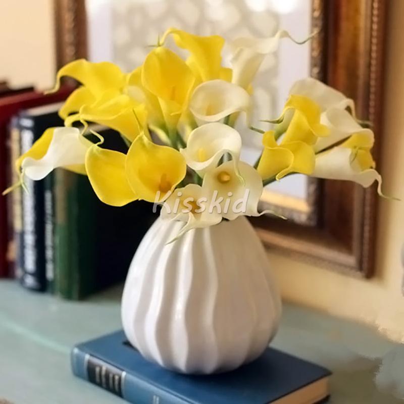 10pcs artificiels calla lis véritable tactile fleur bouquet de mariée maison décoration bureau décrocrocrocro choisir couleur blanc rose bleu