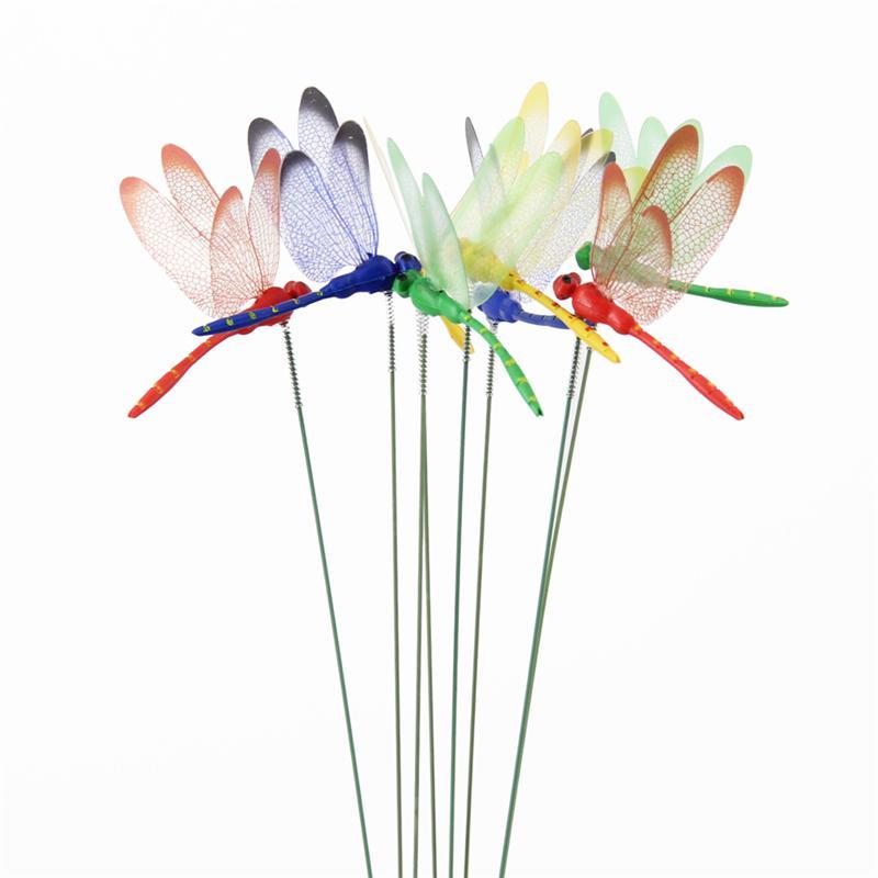 10PCS / Pacote 3D Artificial Dragonfly Borboletas decoração do jardim ao ar livre Simulação Dragonfly Stakes Quintal Planta Lawn Decor vara
